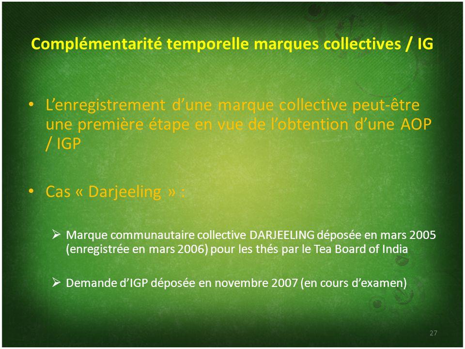 Complémentarité temporelle marques collectives / IG