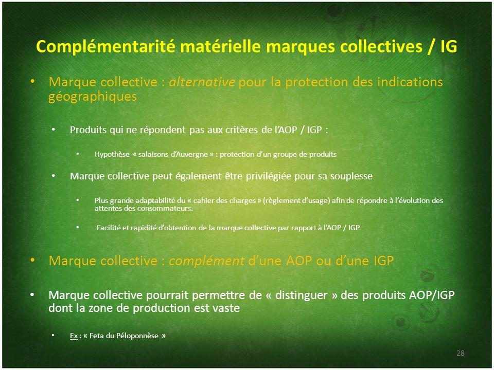Complémentarité matérielle marques collectives / IG