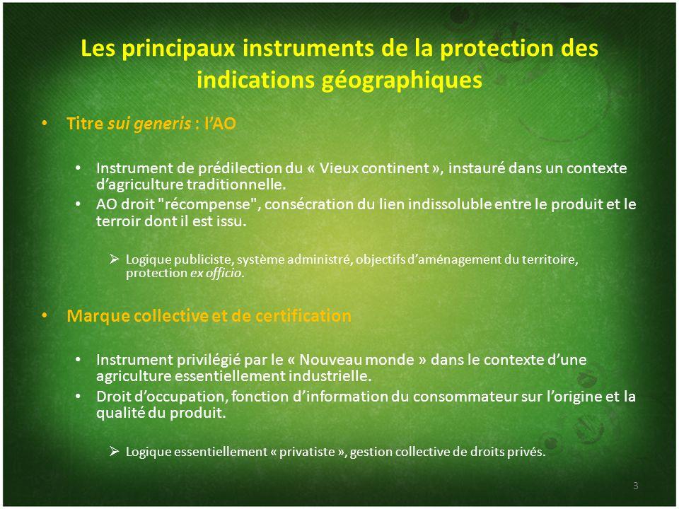 Les principaux instruments de la protection des indications géographiques