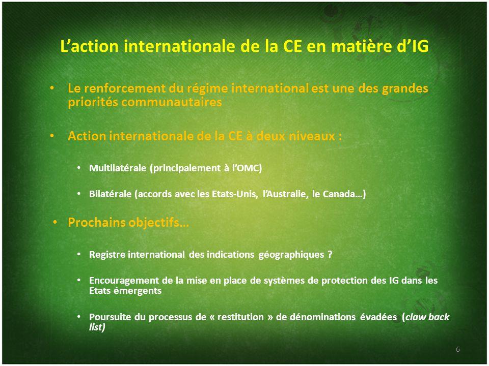 L'action internationale de la CE en matière d'IG