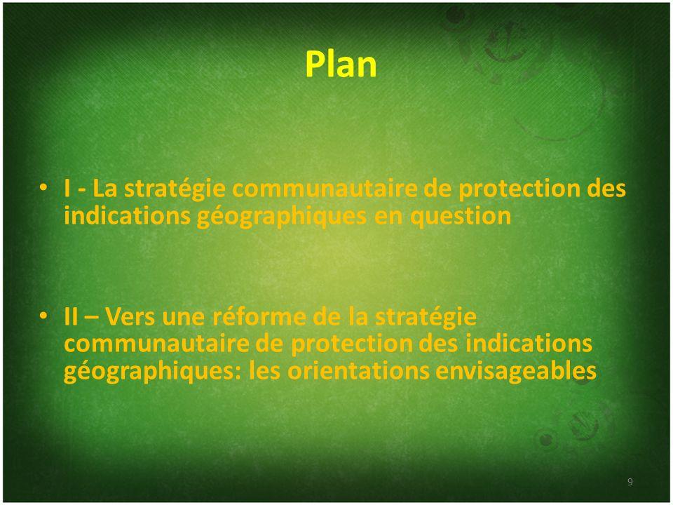 Plan I - La stratégie communautaire de protection des indications géographiques en question.