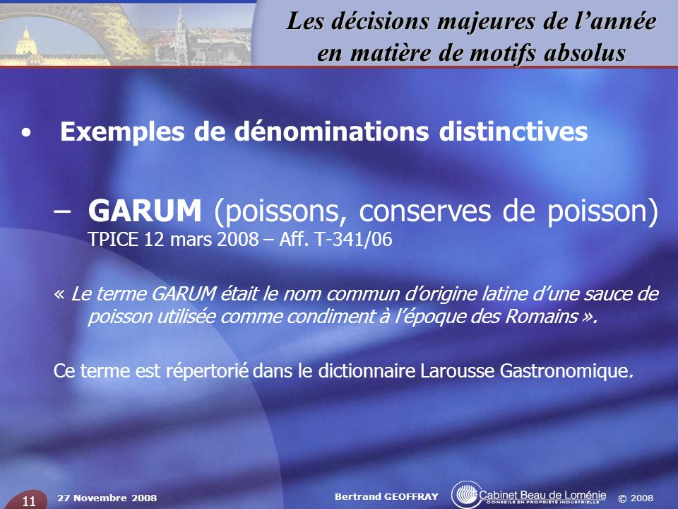 Exemples de dénominations distinctives