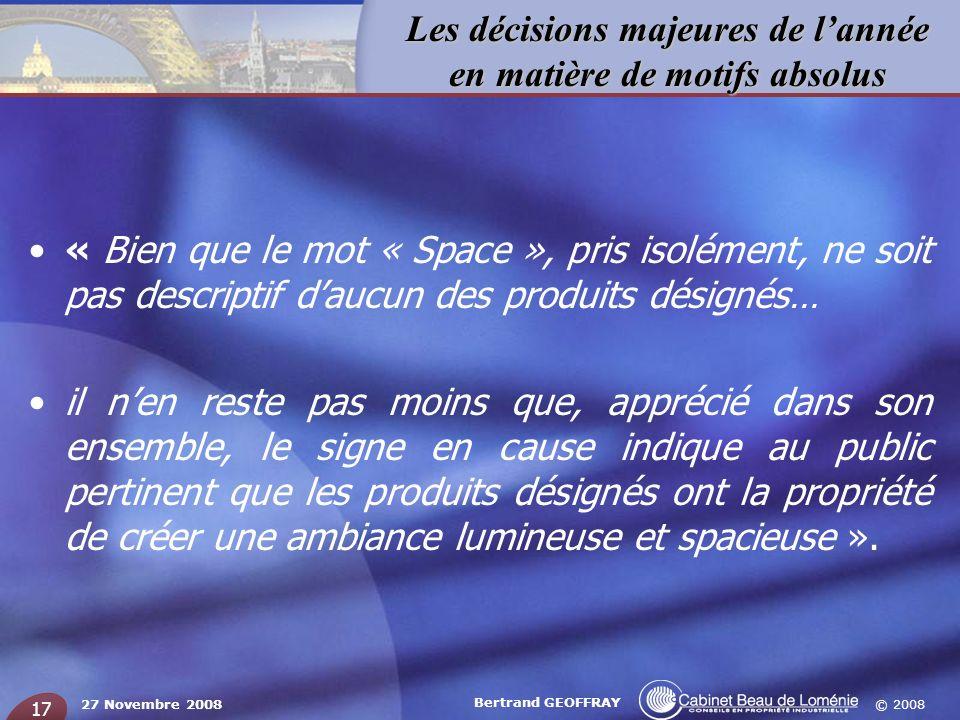 « Bien que le mot « Space », pris isolément, ne soit pas descriptif d'aucun des produits désignés…