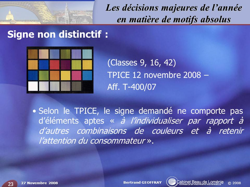 (Classes 9, 16, 42) Signe non distinctif : TPICE 12 novembre 2008 –