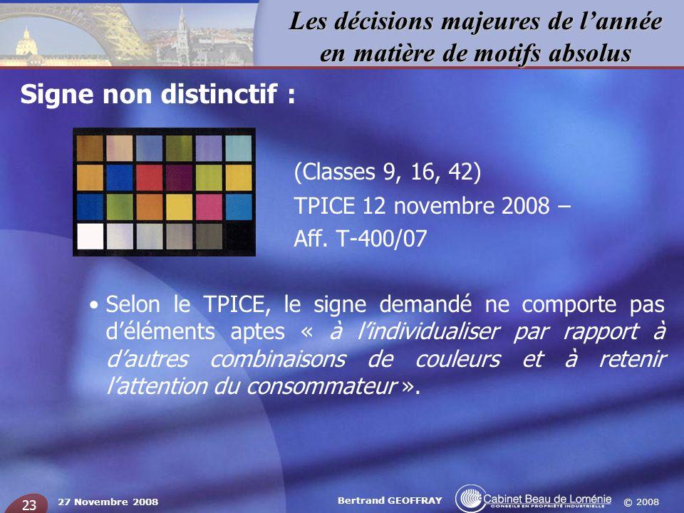(Classes 9, 16, 42) Signe non distinctif : TPICE 12 novembre 2008 –