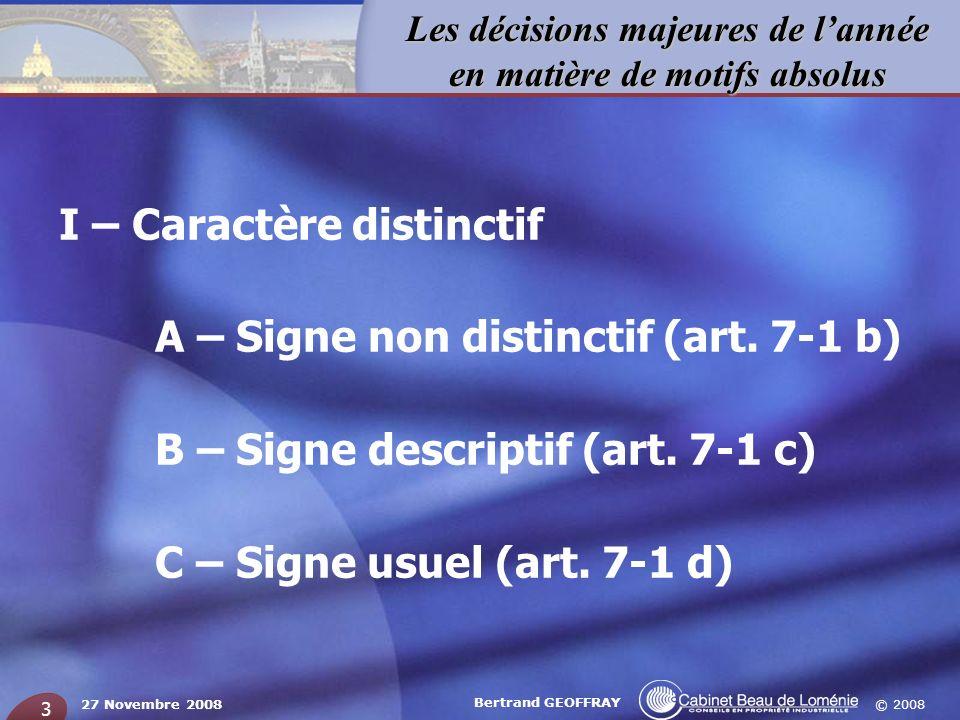 I – Caractère distinctif