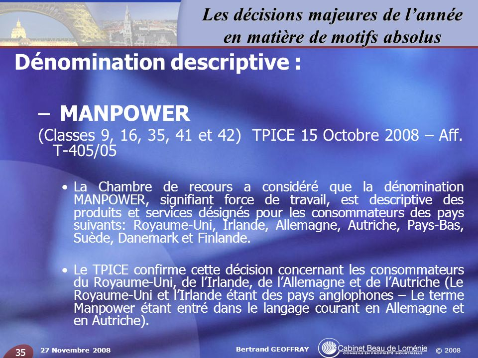 Dénomination descriptive : MANPOWER