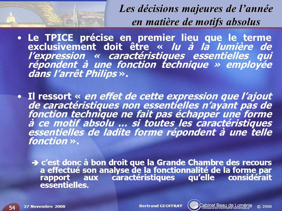 Le TPICE précise en premier lieu que le terme exclusivement doit être « lu à la lumière de l'expression « caractéristiques essentielles qui répondent à une fonction technique » employée dans l'arrêt Philips ».