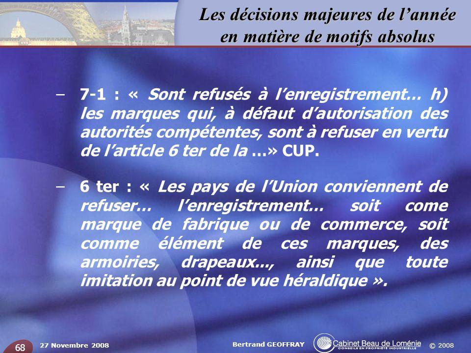 7-1 : « Sont refusés à l'enregistrement… h) les marques qui, à défaut d'autorisation des autorités compétentes, sont à refuser en vertu de l'article 6 ter de la …» CUP.