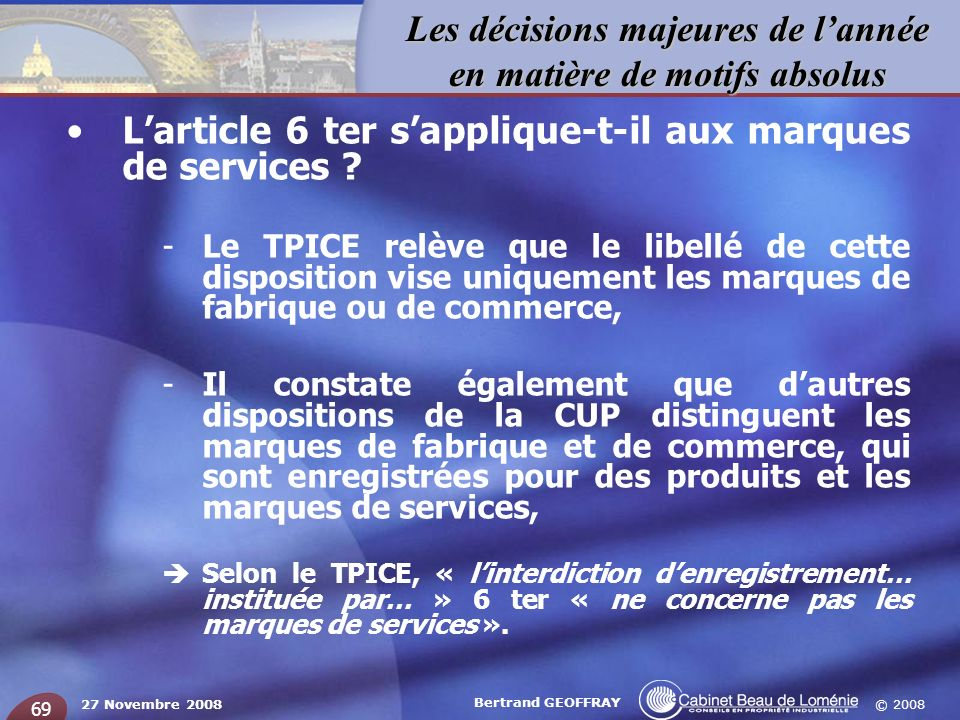 L'article 6 ter s'applique-t-il aux marques de services