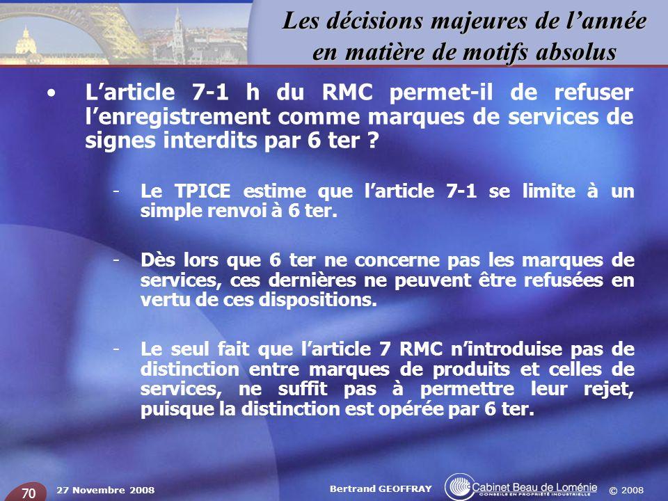 L'article 7-1 h du RMC permet-il de refuser l'enregistrement comme marques de services de signes interdits par 6 ter
