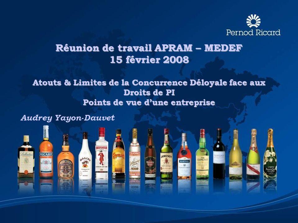 Réunion de travail APRAM – MEDEF 15 février 2008 Atouts & Limites de la Concurrence Déloyale face aux Droits de PI Points de vue d'une entreprise