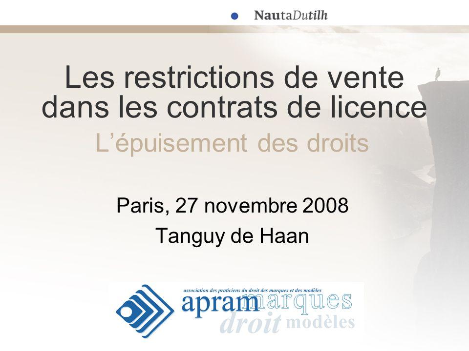 Les restrictions de vente dans les contrats de licence