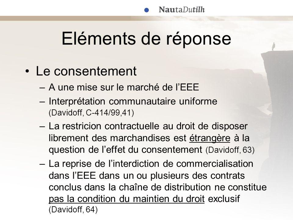 Eléments de réponse Le consentement A une mise sur le marché de l'EEE