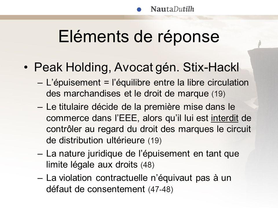 Eléments de réponse Peak Holding, Avocat gén. Stix-Hackl