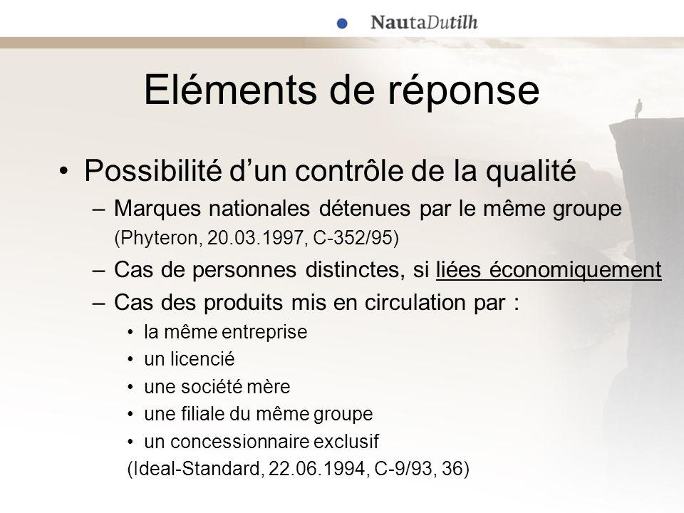 Eléments de réponse Possibilité d'un contrôle de la qualité