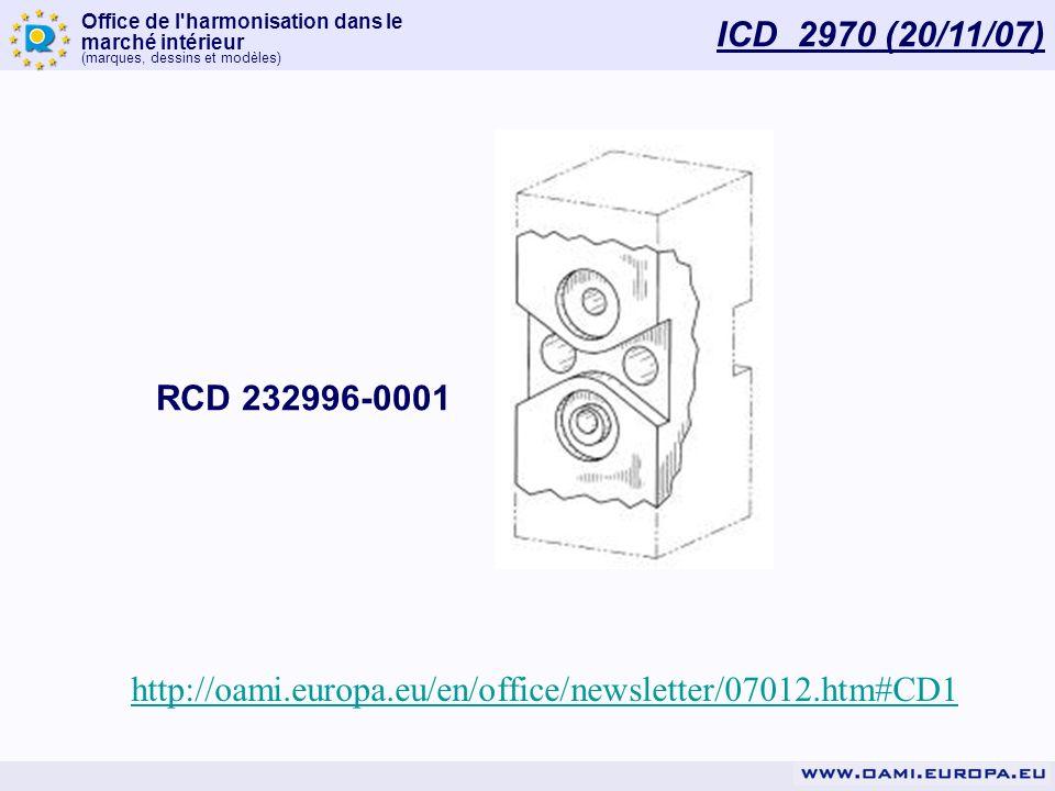 ICD 2970 (20/11/07) RCD 232996-0001 http://oami.europa.eu/en/office/newsletter/07012.htm#CD1