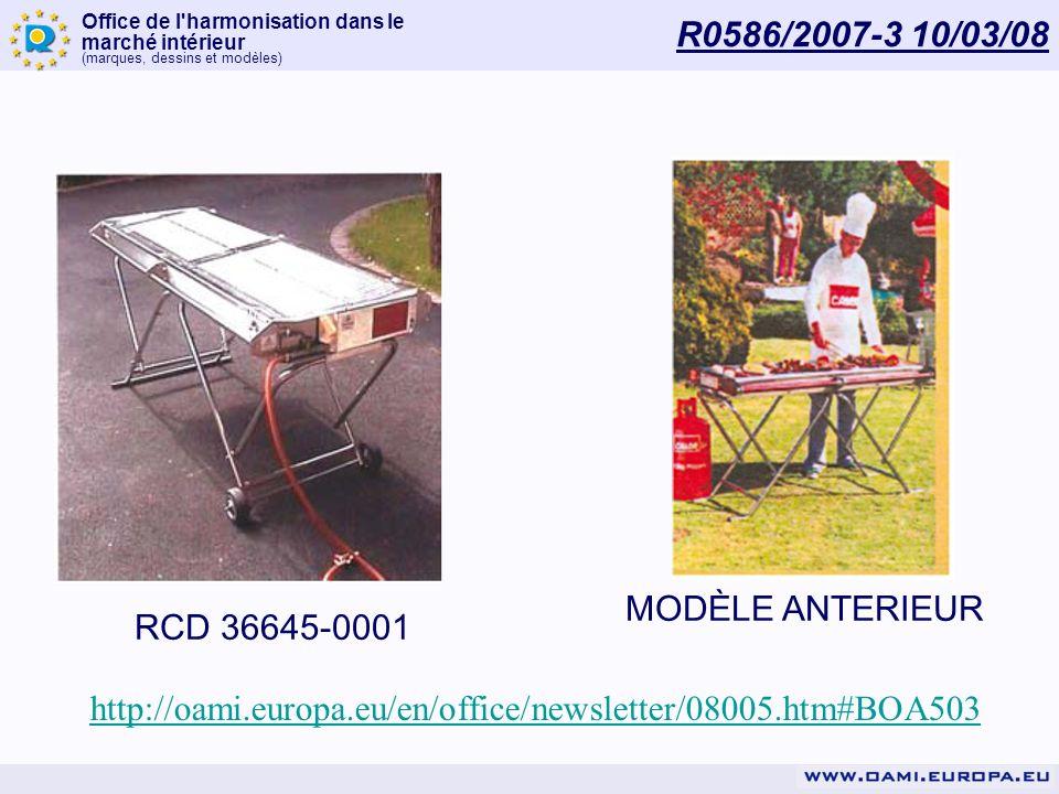 R0586/2007-3 10/03/08 RCD 36645-0001. MODÈLE ANTERIEUR.