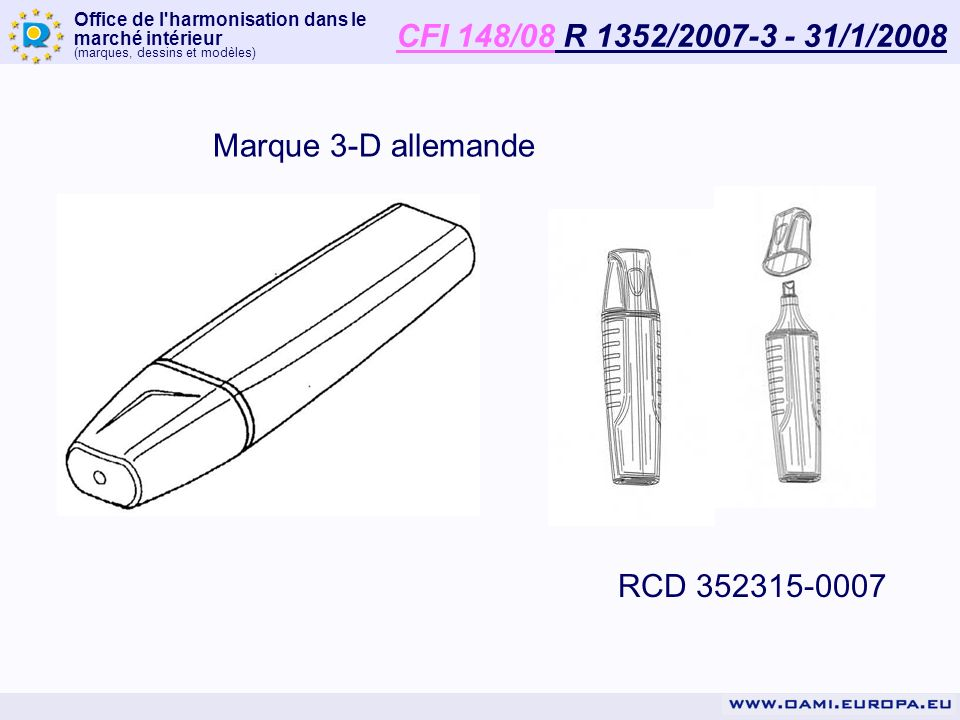 CFI 148/08 R 1352/2007-3 - 31/1/2008 Marque 3-D allemande RCD 352315-0007