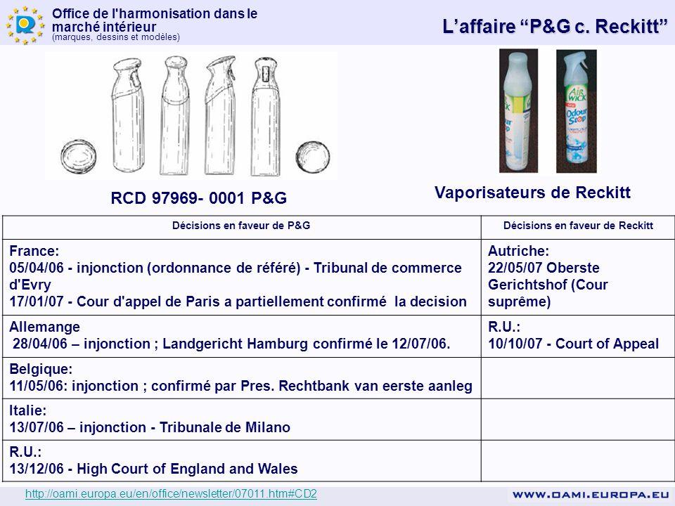 Décisions en faveur de P&G Décisions en faveur de Reckitt