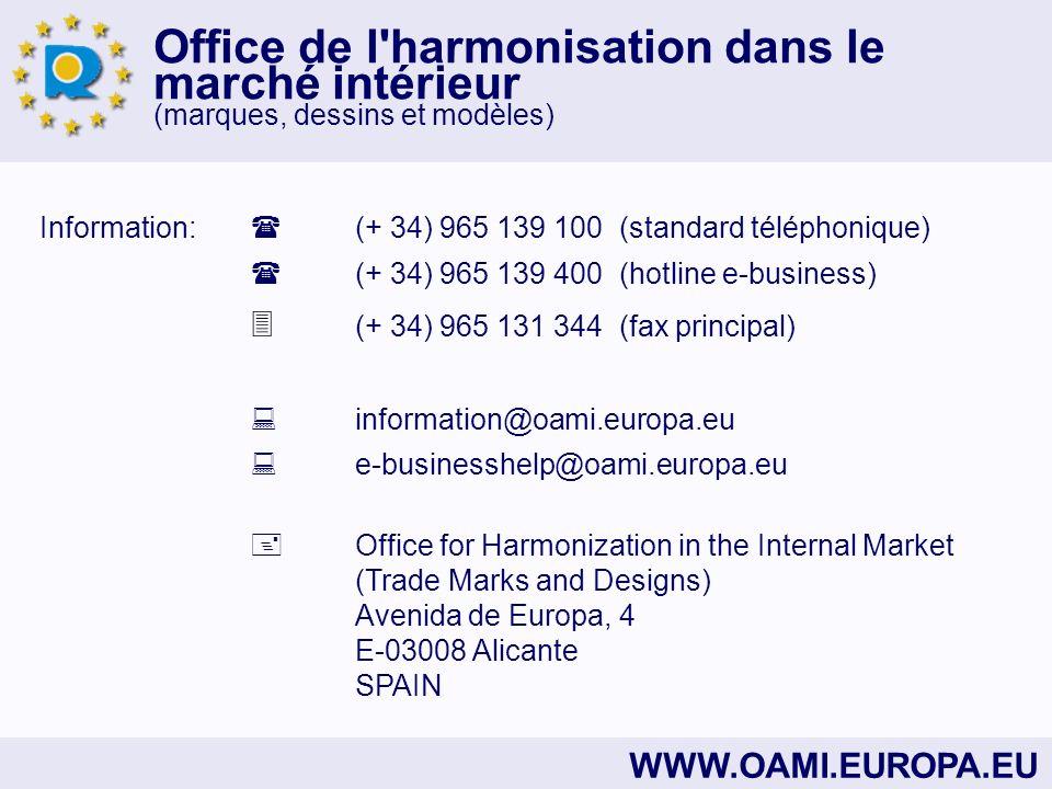 Information:  (+ 34) 965 139 100 (standard téléphonique)