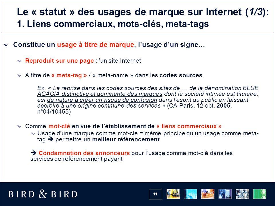 Le « statut » des usages de marque sur Internet (1/3): 1