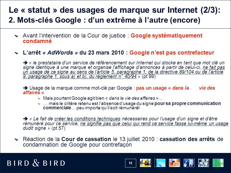 Le « statut » des usages de marque sur Internet (2/3): 2