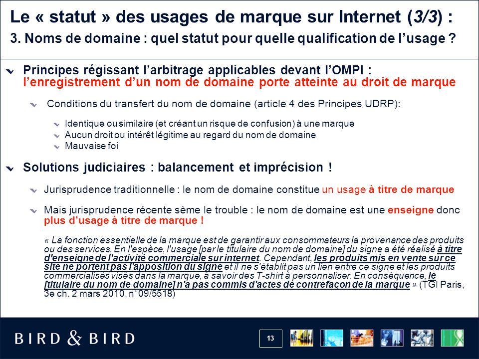 Le « statut » des usages de marque sur Internet (3/3) : 3
