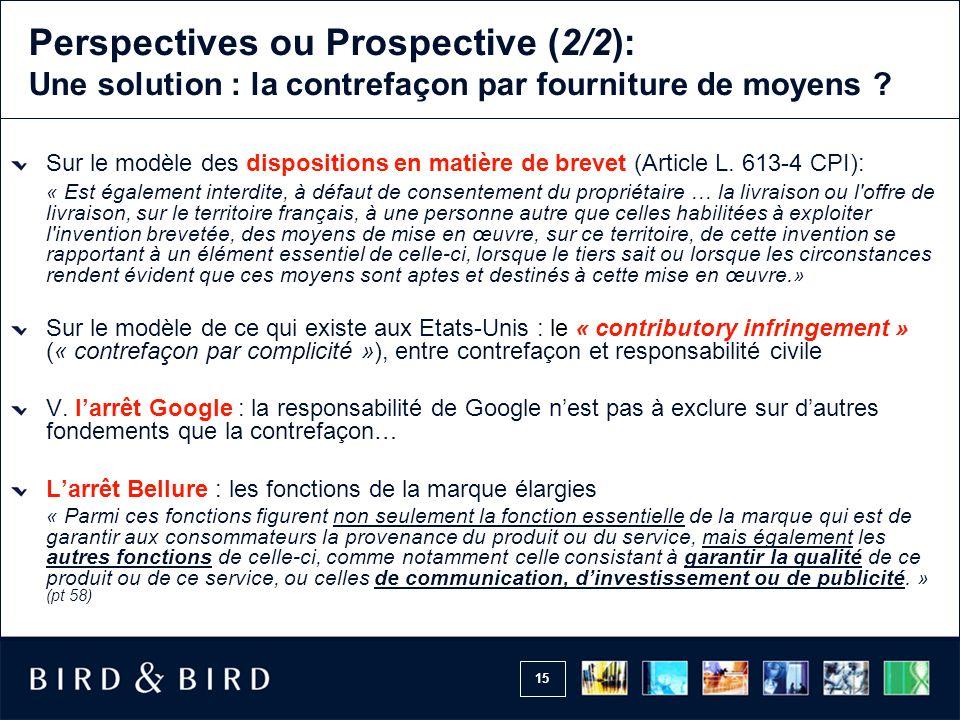 Perspectives ou Prospective (2/2): Une solution : la contrefaçon par fourniture de moyens