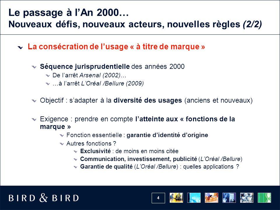 Le passage à l'An 2000… Nouveaux défis, nouveaux acteurs, nouvelles règles (2/2)