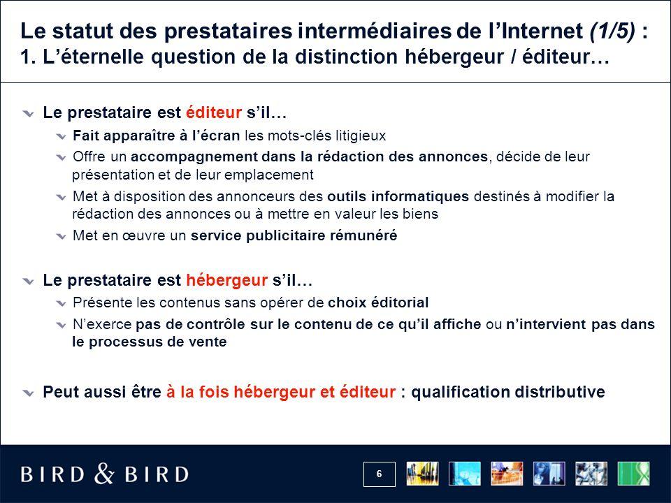 Le statut des prestataires intermédiaires de l'Internet (1/5) : 1
