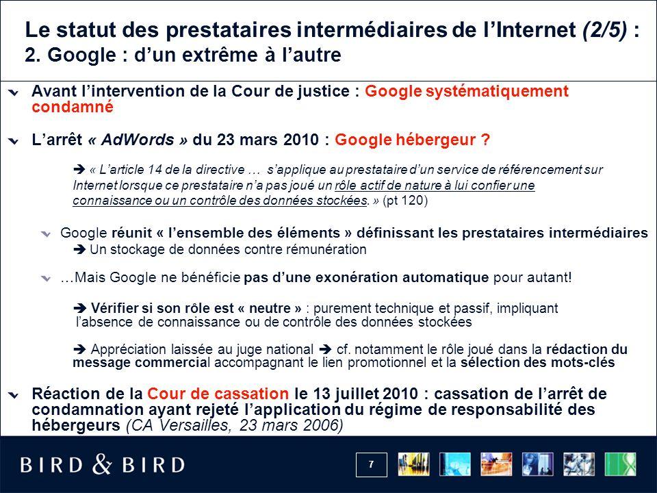 Le statut des prestataires intermédiaires de l'Internet (2/5) : 2
