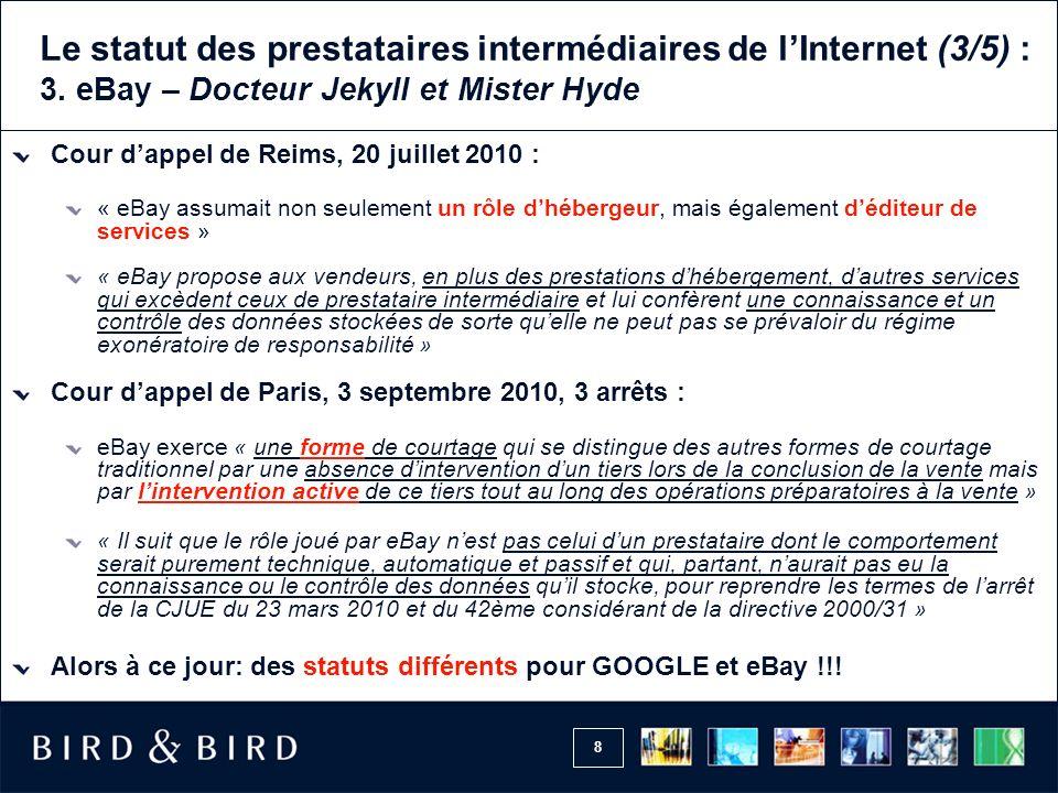 Le statut des prestataires intermédiaires de l'Internet (3/5) : 3