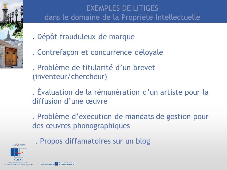 EXEMPLES DE LITIGES dans le domaine de la Propriété Intellectuelle