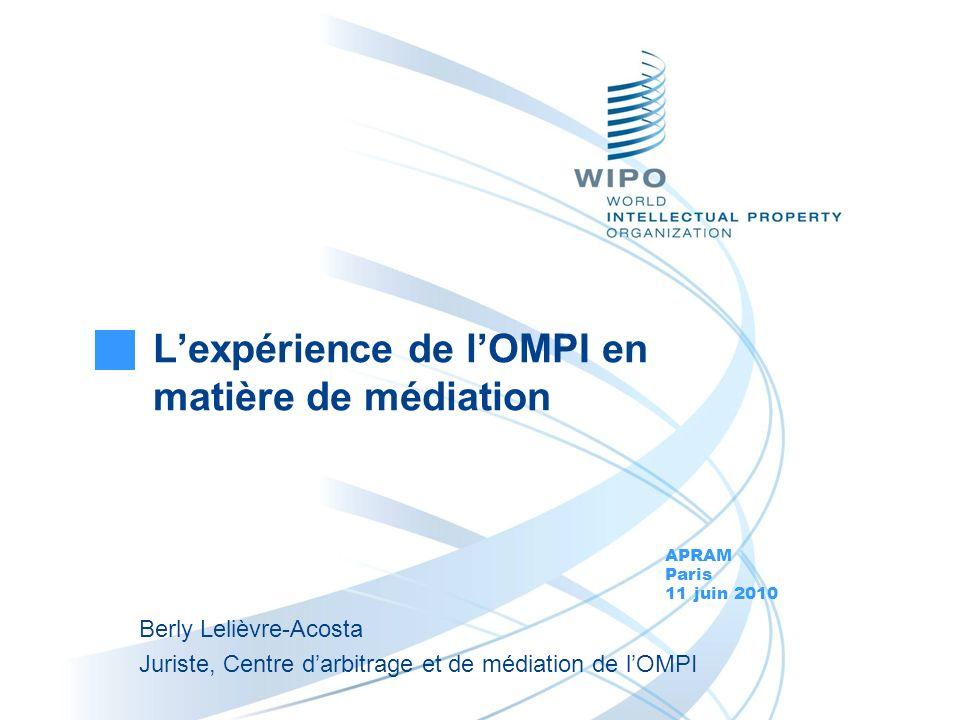 L'expérience de l'OMPI en matière de médiation