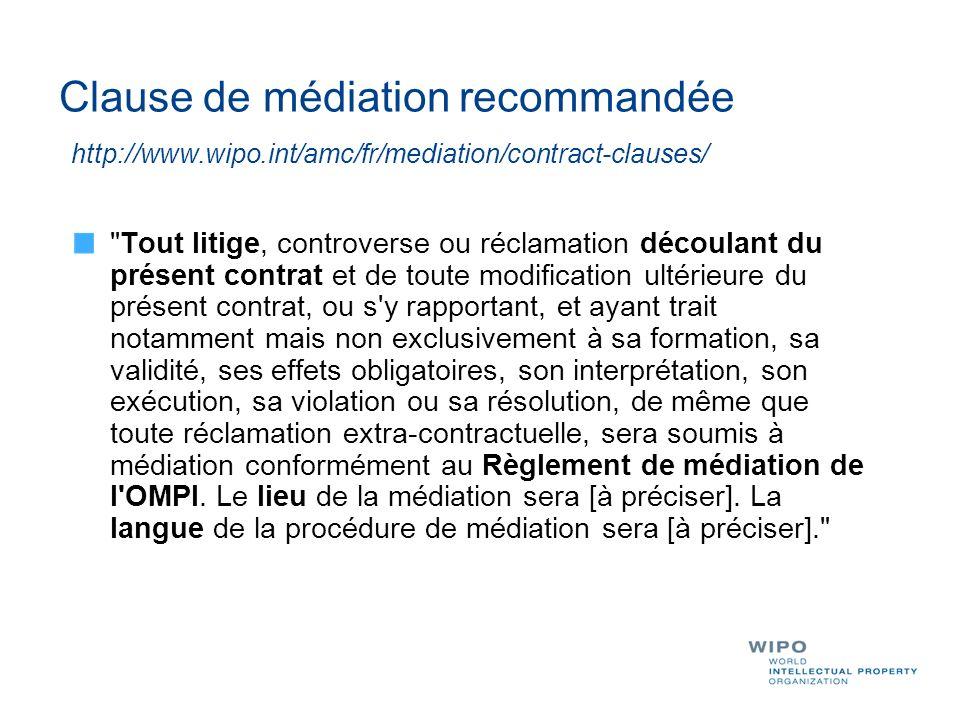 Clause de médiation recommandée http://www. wipo