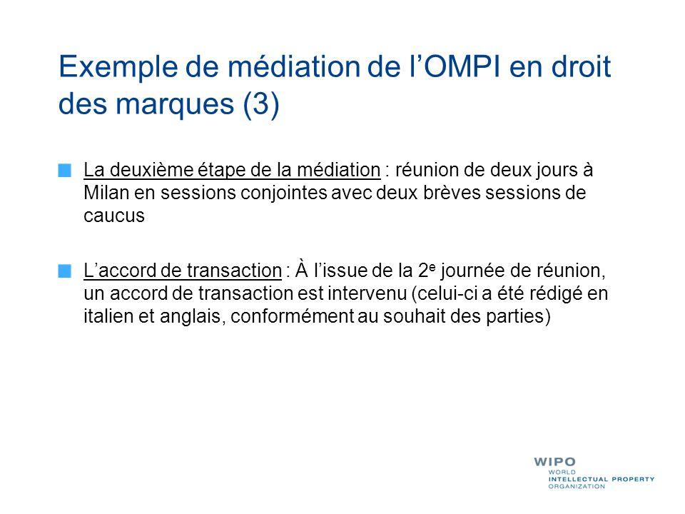 Exemple de médiation de l'OMPI en droit des marques (3)