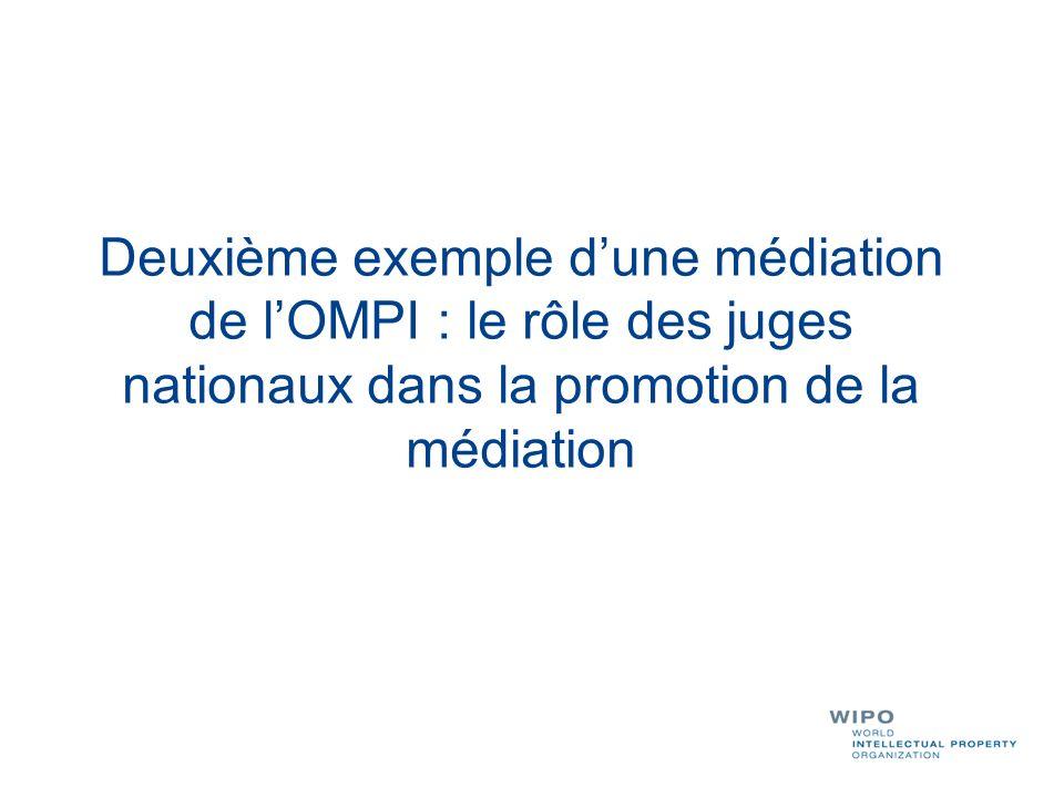 Deuxième exemple d'une médiation de l'OMPI : le rôle des juges nationaux dans la promotion de la médiation