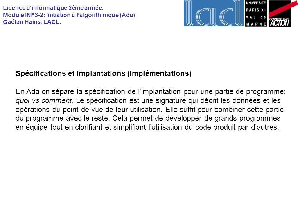 Spécifications et implantations (implémentations)