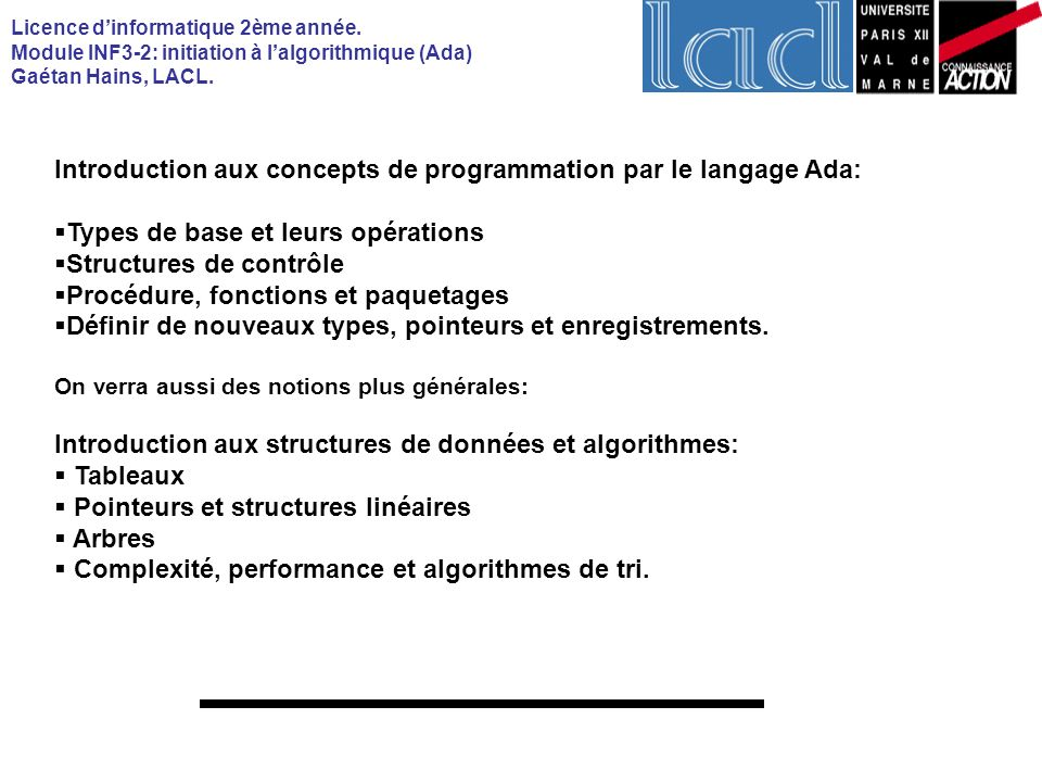 Introduction aux concepts de programmation par le langage Ada:
