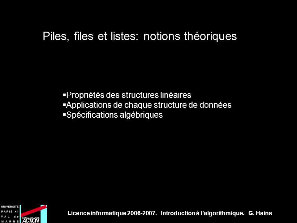 Piles, files et listes: notions théoriques