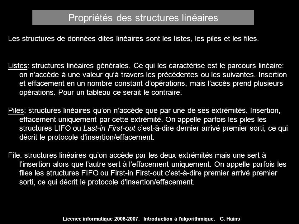 Propriétés des structures linéaires