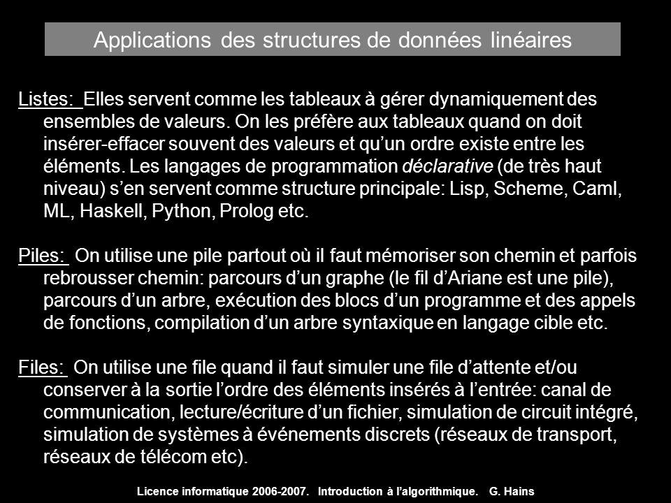 Applications des structures de données linéaires