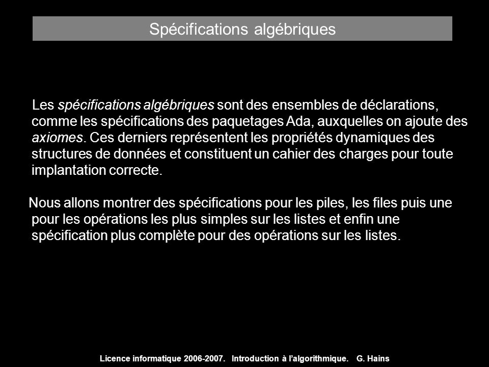 Spécifications algébriques