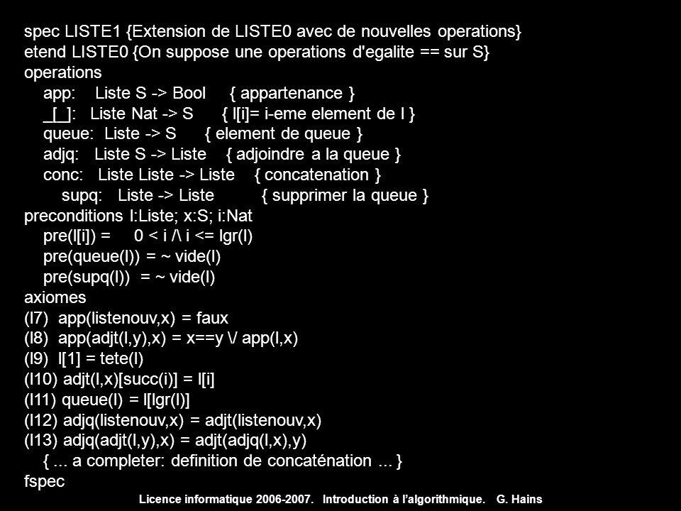 spec LISTE1 {Extension de LISTE0 avec de nouvelles operations}