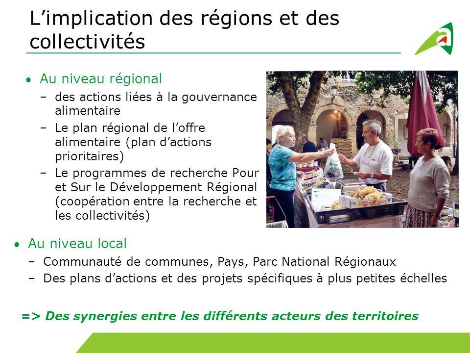 L'implication des régions et des collectivités