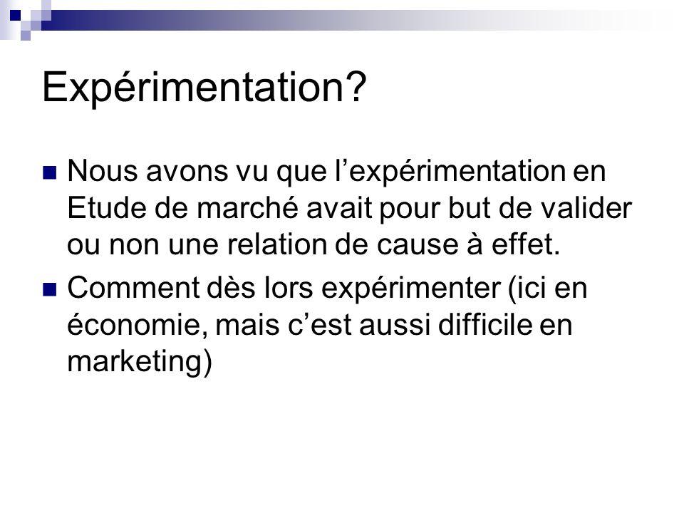 Expérimentation Nous avons vu que l'expérimentation en Etude de marché avait pour but de valider ou non une relation de cause à effet.