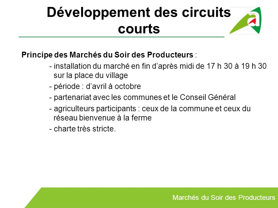 Développement des circuits courts