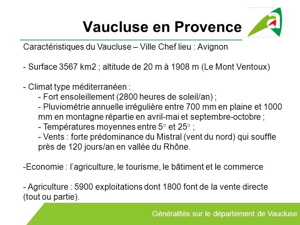 Vaucluse en ProvenceCaractéristiques du Vaucluse – Ville Chef lieu : Avignon. Surface 3567 km2 ; altitude de 20 m à 1908 m (Le Mont Ventoux)