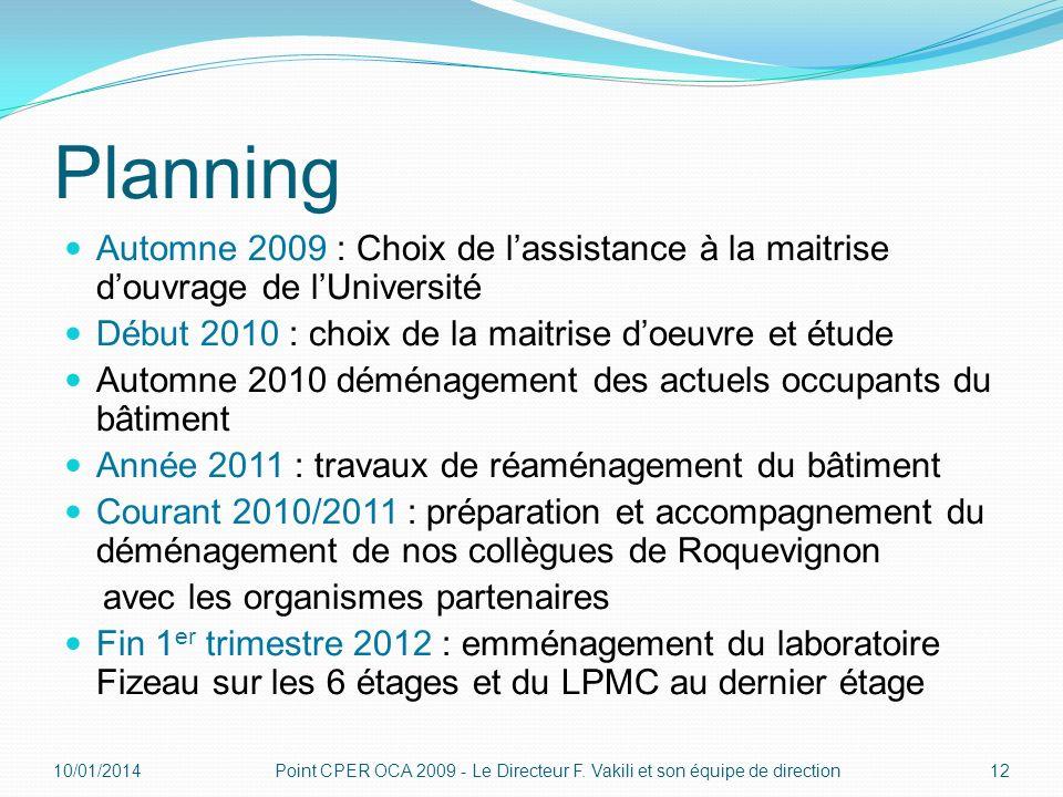 Planning Automne 2009 : Choix de l'assistance à la maitrise d'ouvrage de l'Université. Début 2010 : choix de la maitrise d'oeuvre et étude.